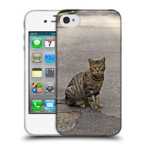Just Phone Cases Coque de Protection TPU Silicone Case pour // V00004311 timide chat se trouve sur la route // Apple iPhone 4 4S 4G
