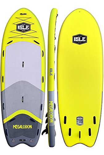 ISLE Megalodon Inflatable Paddle Board Package | Includes 2 Pumps, 2 Paddles, Center Fin (Yellow, 15')