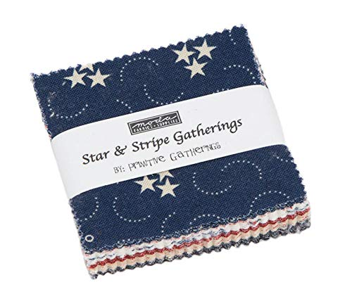Star & Stripe Gatherings Mini Charm Pack by Primitive Gatherings; 42-2.5