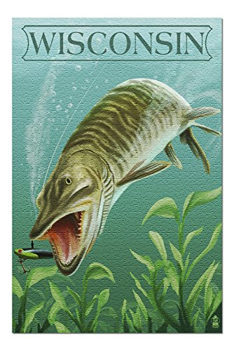 Wisconsin - Muskie (20x30 Premium 1000 Piece Jigsaw Puzzle, Made in USA!)