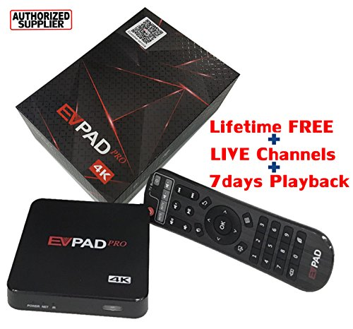 EVPAD PRO Online TV Box Android 4.4 with Google Player 1500+ Global Live Channels, Free Smart 4K UHD Kodi Multimedia Player Center with Chinese English Korean Japanese and Malay Languages