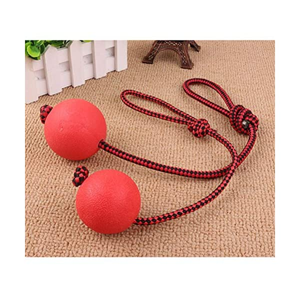 Ball and Rope Dog Toy-Dog Ball on String-Rope Rubber Solid Elastic Ball Bite-Resistant Pets Supplies Molar Training Tool for Dog Puppy 7