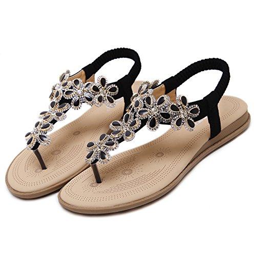 Sandals Bohemian Style Rhinestone Flower Beaded Strap Gladiator T-Strap Thong Shoes Flip Flops Black US 6.5 ()