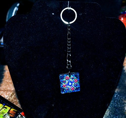 Square Hand Painted Small Glass Black Keychain With Natural Wooden ()
