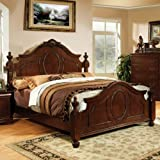 Best 247SHOPATHOME Kings Furniture King Size Beds - Velda English Style Warm Cherry Finish Eastern King Review