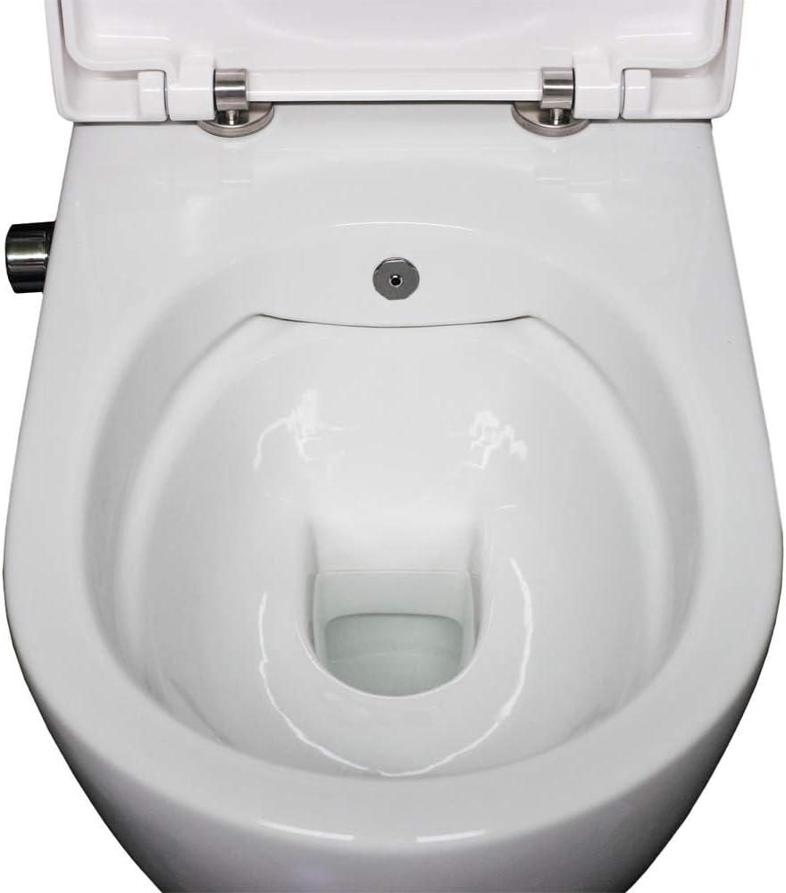 toilette con doccino intimo con funzione bidet sedile Softclose removibile e rivestimento doccino//WC Shattaf WC Taharet senza brida con rubinetteria