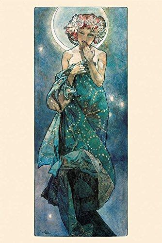 Alphonse Mucha Paintings - Buyartforless The Moon by Alphonse Mucha 36x24 Art Print Poster Art Nouveau Period Famous Painting Illustration Art Nouveau Mystical