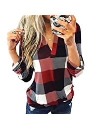 Kaimu Women Casual Top V-Neck Long Sleeve Plaid Patchwork Pullover Blouse Blouses & Button-Down Shirts