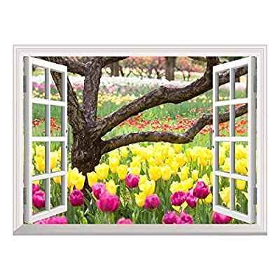 Removable Wall Sticker/Wall Mural - Bed of Tulips | Creative Window View Wall Decor - 36