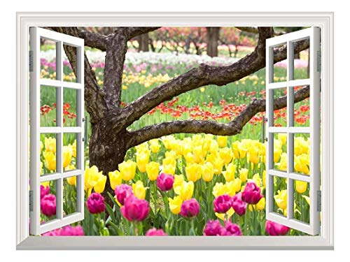 Removable Wall Sticker Wall Mural Bed of Tulips Creative Window View Wall Decor