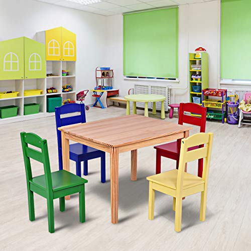 Costzon Kids Wooden Table and 4 Chairs Set, 5 Pieces Set Includes 4 Chairs and 1 Activity Table, Toddler Table for 2-6 Years, Playroom Furniture, Picnic Table w/Chairs, Dining Table Set (Multicolor)