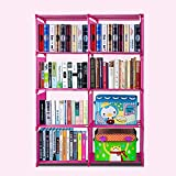 Pesters 4-Shelf Portable Bookcase Storage Adjustable Space Saving Bookshelf(Pink-2)