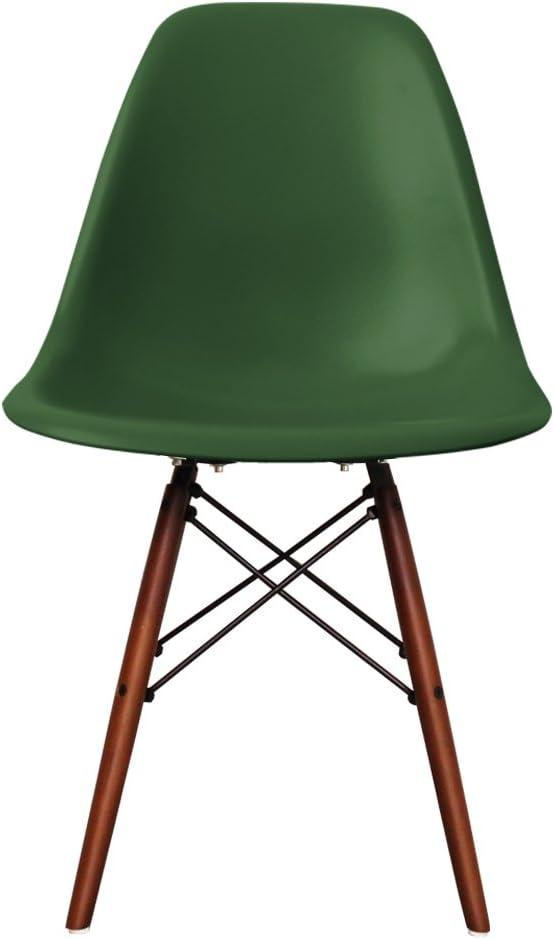 Chaise de salle à manger en plastique avec pieds en bois inspiré de Eiffel avec style scandinave rétro, Pieds en noyer, eméraude, H: 82cm W: 46cm D: