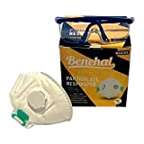 Benehal N95 Dust Mask with 3M Safety Glasses for Eye Protection, NIOSH certified Respirator Mask with Air Filter, Disposable Box of 10, for Smoke, Construction, Pollution, Painting and Woodworking