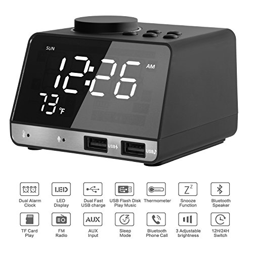 Front Panel Multi Functional Device - Alarm Clock Radio | TF Card Play | Dual Snooze Bluetooth Speaker | Connect to Echo | Adjustable Mirror LED Night Light | USB Charging Station | Indoor Thermometer | Built-in Mic