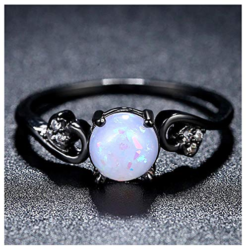 (Candy-OU Beiver Black Gold Color Rings for Women Synthetic Fire Opal Wedding Jewelry Christmas Deals,8,White)