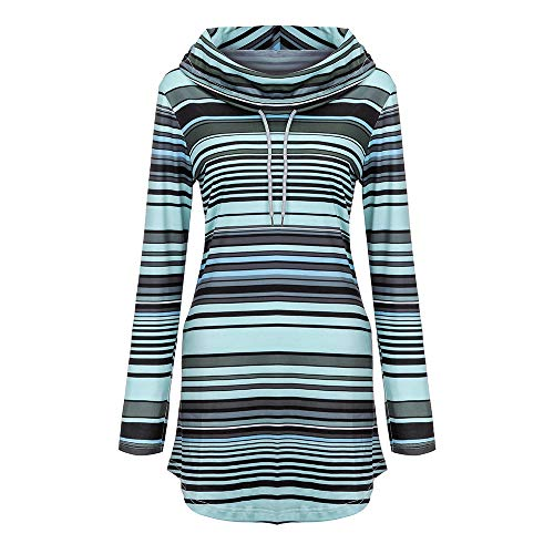 Womens Cowl Neck Pullover Tunic Sweatshirt Stripe Pockets Blouse Loose Tops