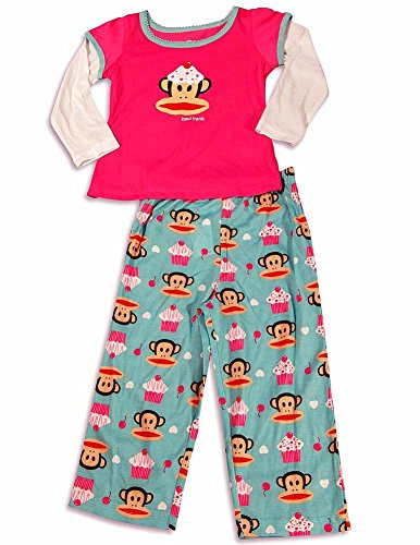 Paul Frank - Little Girls Long Sleeve Monkey Pajamas, Pink, Teal - Frank Designer Paul