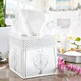 Creative Scents Tissue Box Cover Square , Decorative Tissue Box Holder is Finished in Beautiful Vintage White, Bathroom Accessories