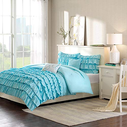 Modern Living Blue Teal Ruffled Waterfall Girl's Twin Comforter Set (4 Piece Bedding)