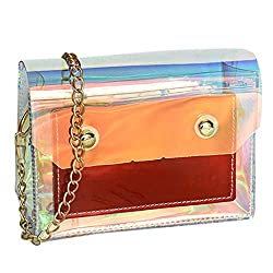 Outique Women Handbags Fashion Lady Transparent Jelly Handbag Shoulder Bag Messenger Bag Clutch Bag