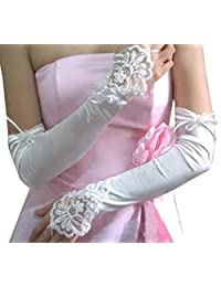 SODIAL(R) White Ivory Wedding Party Fingerless Pearls Lace Formal Bridal Gloves Long 45+/-2 cm