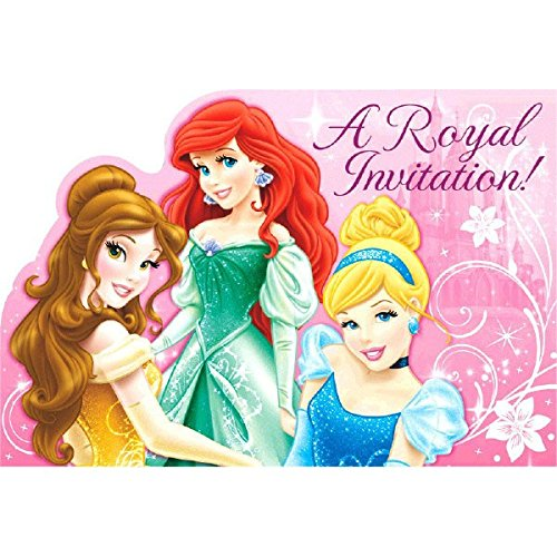 Disney Princess Sparkle Birthday Party Invitations Card Supply (8 Pack), Pink, 6 1/4