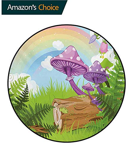 Rainbow Timber - RUGSMAT Mushroom Modern Washable Round Bath Mat,Fantastic Scenery with Wood Timber Grass and Rainbow Fungus Herbs Leaves Weed Art Non-Slip Bathroom Soft Floor Mat Home Decor,Round-63 Inch