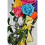 Colourful-Up-Themed-Multi-Coloured-Rose-and-Freesia-Wedding-Pew-End