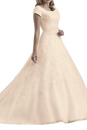 MILANO BRIDE Lace Bridal Wedding Dress Modest Ball Gown Short ...