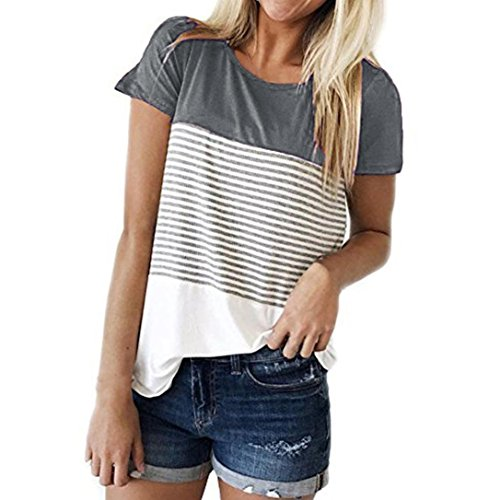 FEITONG Women Short Sleeve Round Neck Triple Color Block Stripe T-Shirt Casual Blouse(X-Large,Gray) -