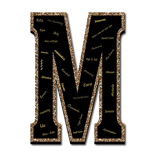 """Signature Letter M - Guest Book Sign Letter - 21"""" Foam Board Party Guestbook Alternative - Black with Gold Monogram Letter - M"""