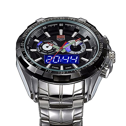 - TVG Men Boys Sports Stainless Steel Dual Display Analog Digital Quartz Watches with Gift Box (Black)