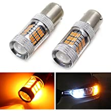 iJDMTOY Amber Yellow 54-SMD 7507 PY21W Canbus LED Replacement Bulbs For F22 F30 F32 2 3 4 Series Front Turn Signal Lights