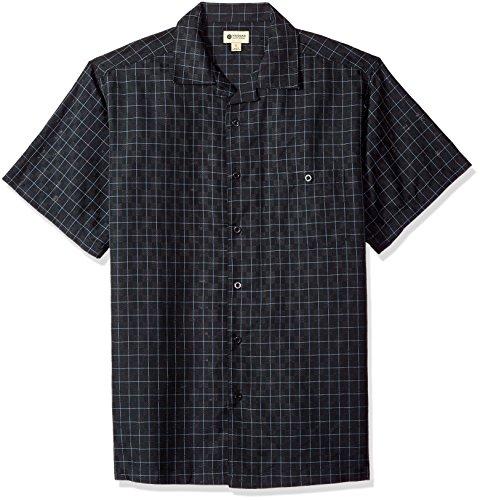 - Haggar Men's Short Sleeve Textured Shirts, BLK Grid, L