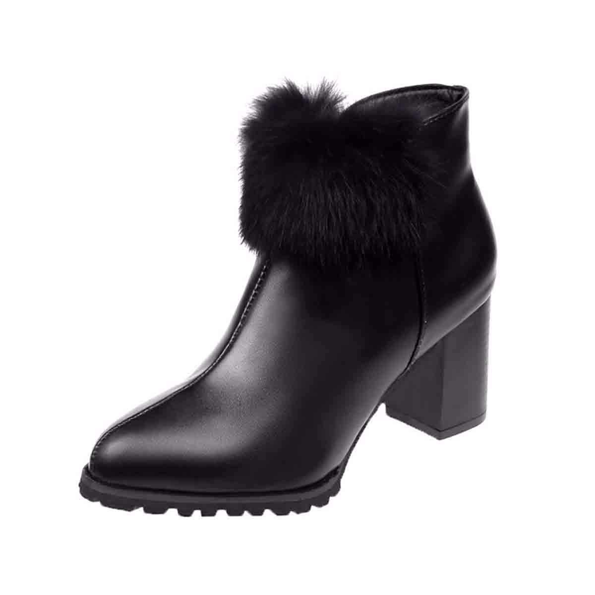 KOKQSX-Frauen - Stiefel modischen Stil warm hochhackige Stiefel nackt - - - Stiefel 6bd2da