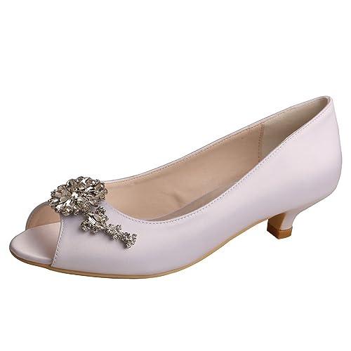 fc3e81bbc27 Wedopus WD625 Women Peep Toe Low Heel Rhinestone Satin Comfortable Wedding  Prom Shoes