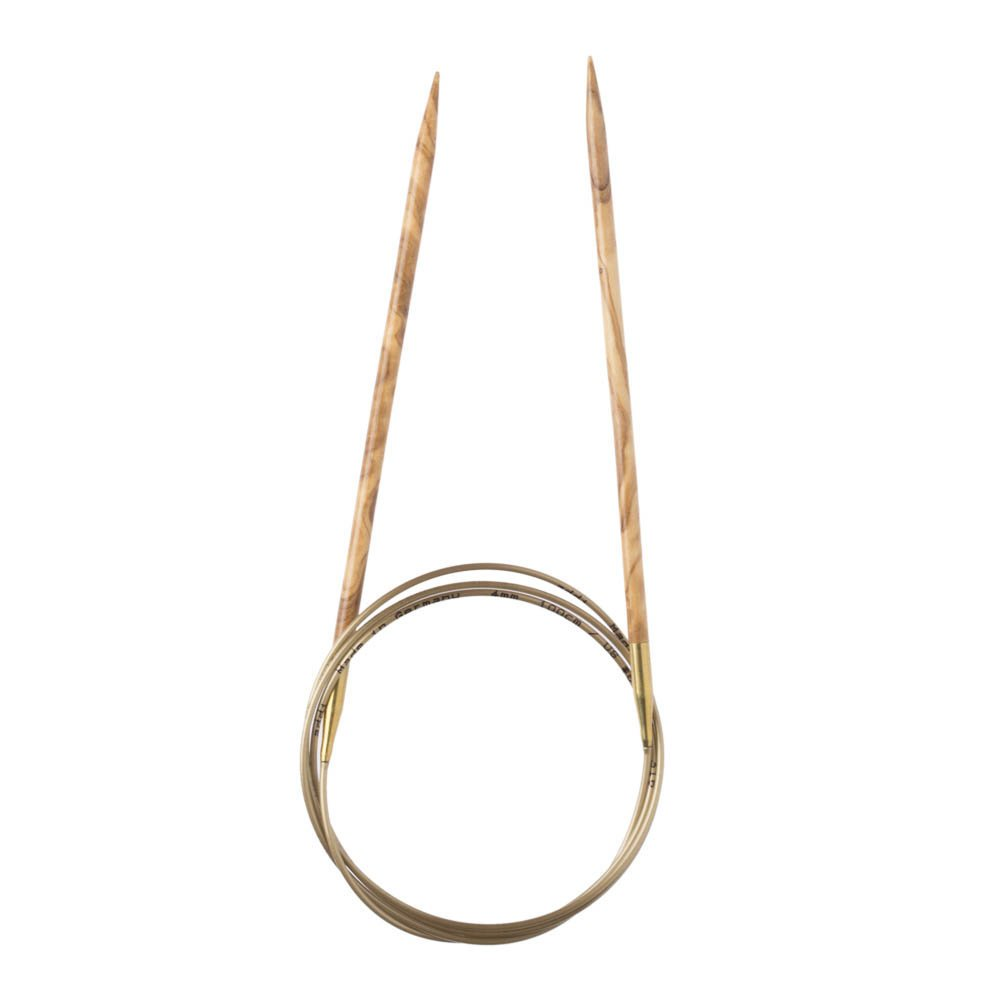 Addi Olive Wood 24 inch (60cm) Circular Knitting Needles; US size 8 (5 mm), Made in Germany - 575-7/60/5