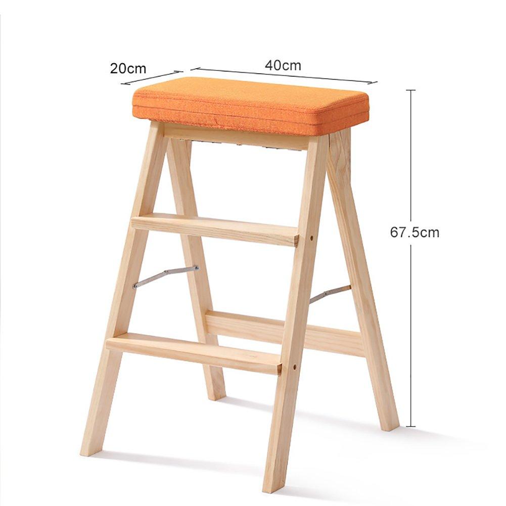 YXX- キッチン木製ステップスツールラダー大人用ソリッドウッド折りたたみ踏み台ポータブルフォールドアップフットスツール多機能スツールベンチ (色 : 木の色, サイズ さいず : #3) B07F675FXB  木の色 #3