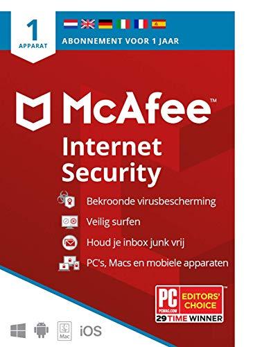 McAfee Internet Security 2021  1 apparaat  1 jaar   antivirussoftware, internetbeveiliging, wachtwoordbeheer, Mobile…