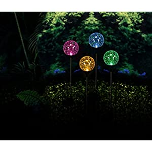 "Solaration174; Crackle Glass Globe Solar Lawn Light, 3.5"" Dia (3 Pack)"
