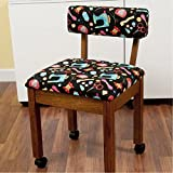 Arrow Sewing Chair Black Riley Blake fabric on Oak 7000B