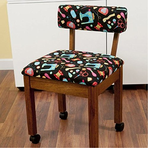 Arrow Sewing Chair Black Riley Blake fabric on Oak 7000B by Arrow Cabinets