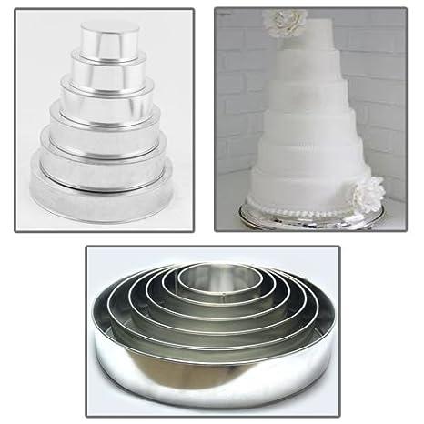 Euro Tins molde Redondo para tarta de boda de 6 pisos - juego de 6: Amazon.es: Hogar