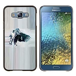 YiPhone /// Prima de resorte delgada de la cubierta del caso de Shell Armor - Cuervo Cuervo Acuarela Eagle Wings - Samsung Galaxy E7 E700