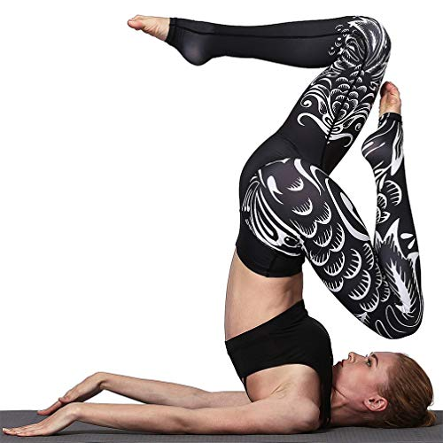 TERODACO Teen Girls Yoga Pants Unique Print Leggings Women Best for Hot YogaBlack Tail ()