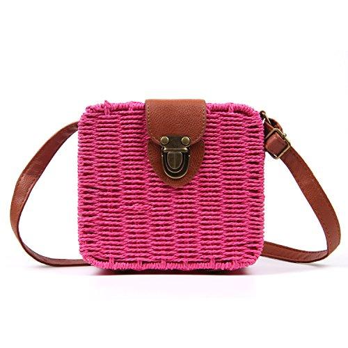 (Vintage Straw Woven Satchel Messenger Womens Beach Crossbody Shoulder Bag)