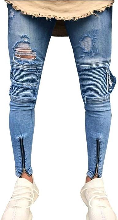 Pantalones Para Hombres Slim Biker Zipper Hombres De Moda Hombre Slim Biker Closure Denim Jeans Skinny Frayed Pants Distressed Pants Amazon Es Ropa Y Accesorios