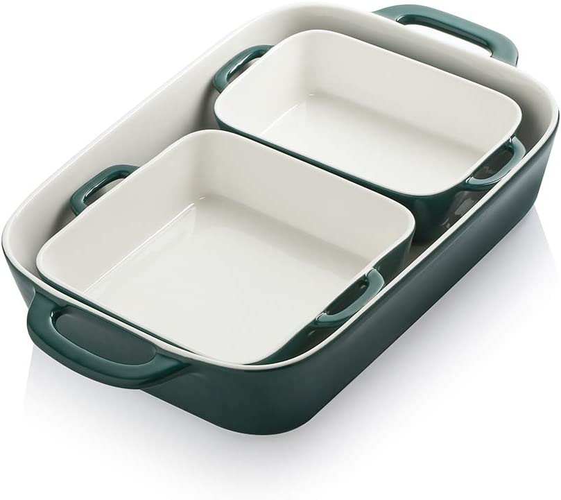 SWEEJAR Ceramic Bakeware Set, Rectangular Baking Dish for Cooking, Kitchen, Cake Dinner, Banquet and Daily Use, 12.8 x 8.9 Inches porcelain Baking Pans (Jade)