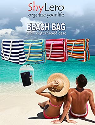 "Beach Bag XL (HUGE). L22""xH15""xW6"" w 100% Waterproof Phone Case, Coton Rope Handles, Top Zipper, Extra Outside Pocket. X-LARGE Shoulder Beach Tote has Built-In Keyholder, Bottle Opener. Ripstop Oxford"